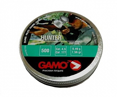 Пули Gamo Hunter 4,5 мм, 0,49 грамм (500 шт.)