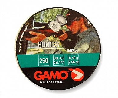 Пули Gamo Hunter 4,5 мм, 0,49 грамм (250 шт.)